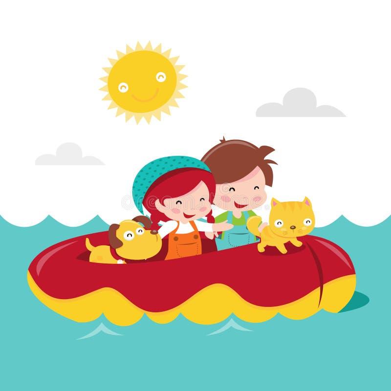 Aventura deslustrado das crianças felizes ilustração royalty free