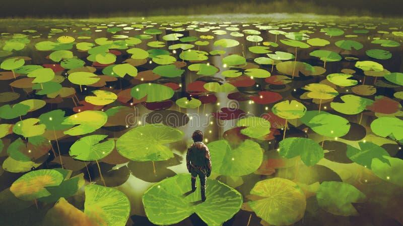 Aventura en el pantano de la fantasía stock de ilustración