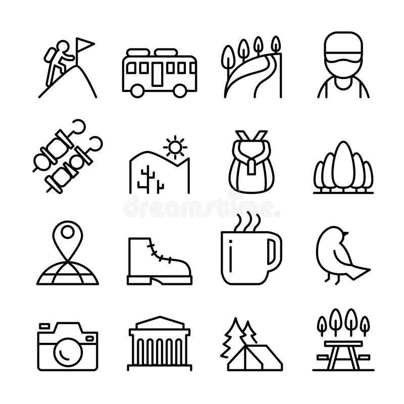 Aventura, explorador, descubrimiento, acampando, viajero, icono del turismo ilustración del vector