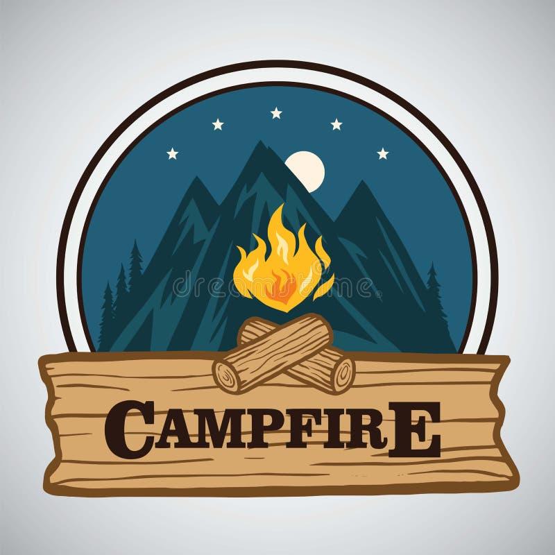 Aventura Logo Vetora Illustration retro redondo da montanha da fogueira Molde para acampar, atividade do feriado da aventura ilustração stock