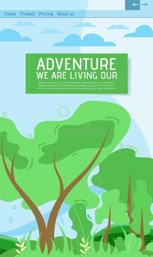 Aventura móvil y página pura del aterrizaje de la naturaleza libre illustration