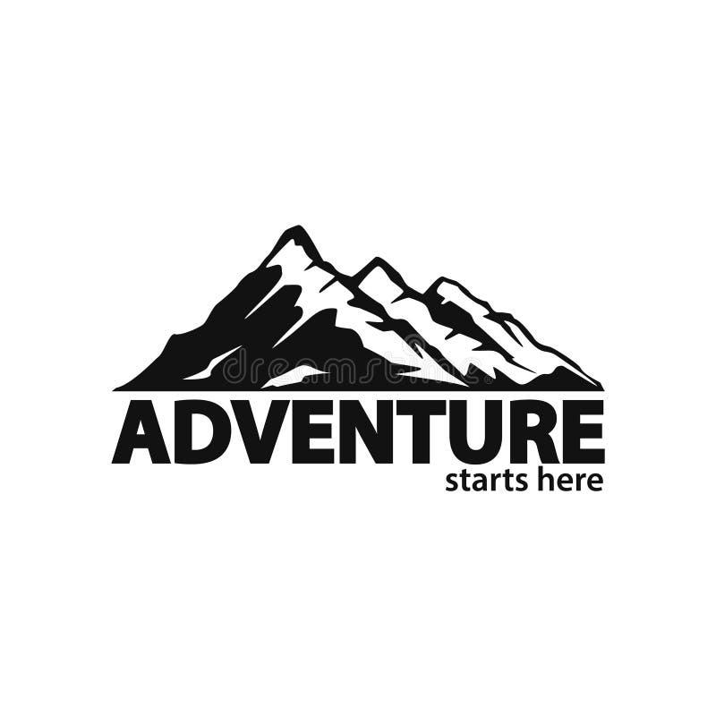 Aventura no molde do logotipo da loja da expedição da viagem das montanhas ilustração stock