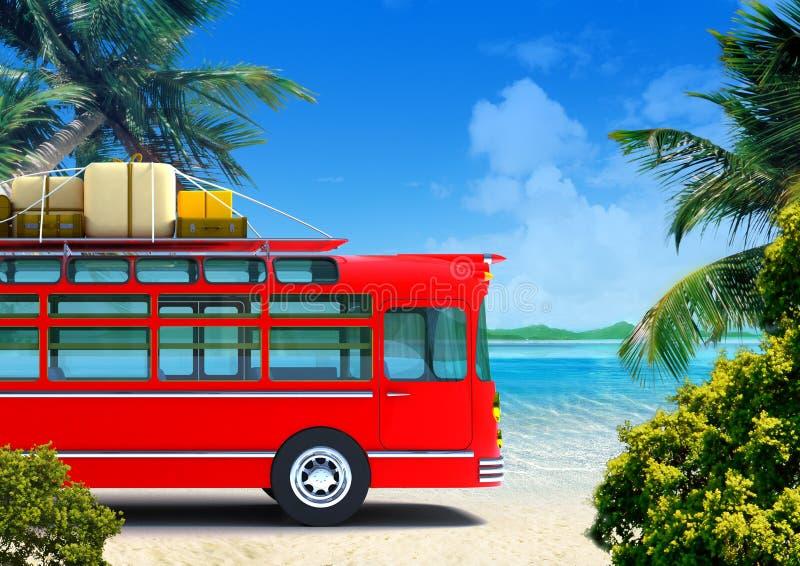 Aventura roja del omnibus en la playa ilustración del vector