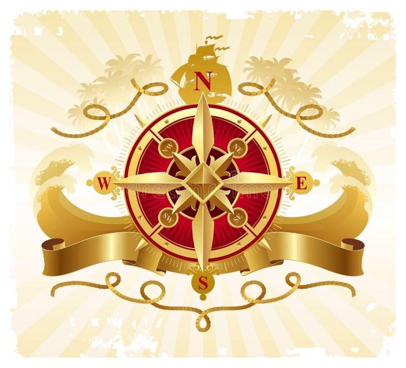 Aventura-se o emblema do vintage com a rosa de compasso dourada ilustração do vetor