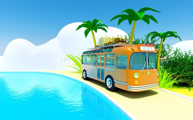 Aventura tropical en omnibus ilustración del vector