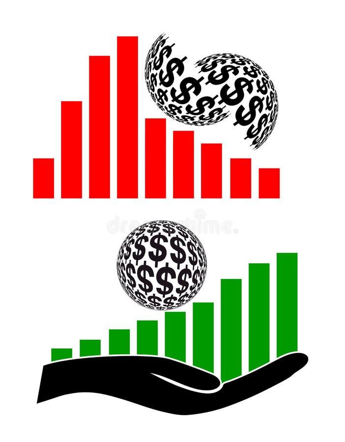 Aventurado contra la inversión segura ilustración del vector
