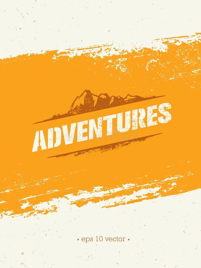 aventuras Conceito criativo da motivação da caminhada da montanha da aventura Projeto exterior do vetor ilustração royalty free
