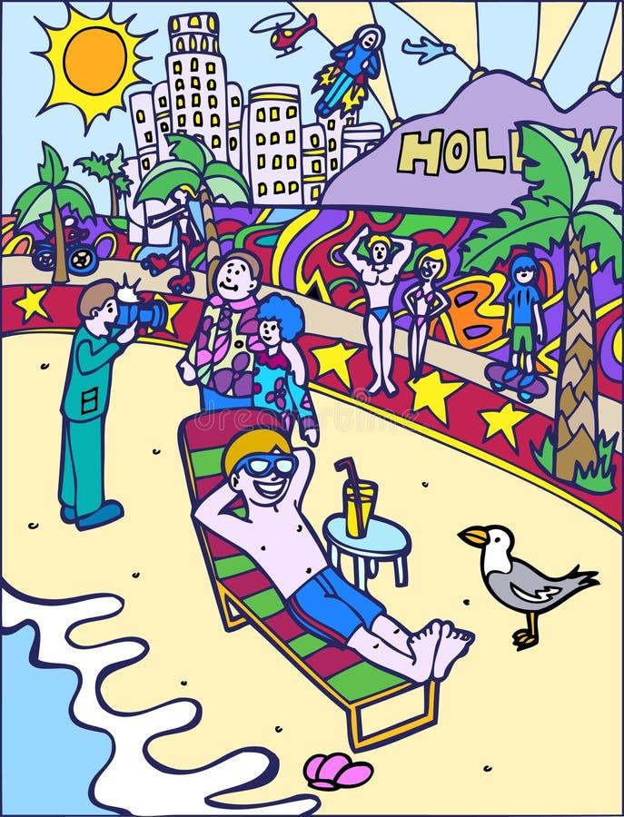 Aventuras do miúdo: Banho de Sun na praia ilustração do vetor