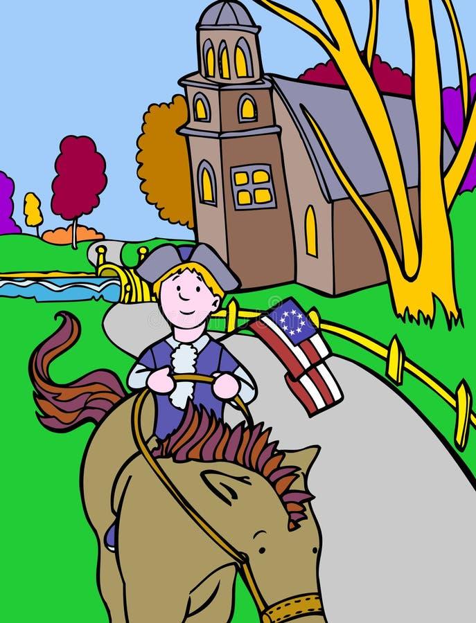 Aventuras do miúdo: Cavaleiro colonial ilustração stock