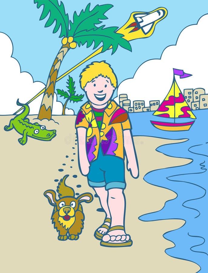 Aventuras do miúdo: Férias de Florida ilustração do vetor