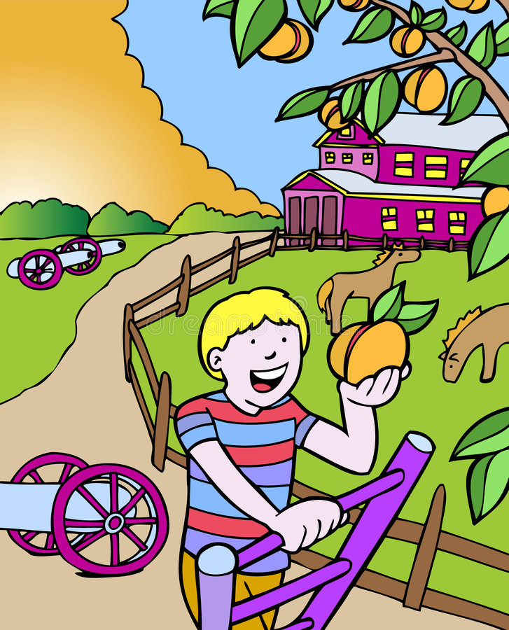 Aventuras do miúdo: Pêssegos da colheita em Geórgia ilustração stock