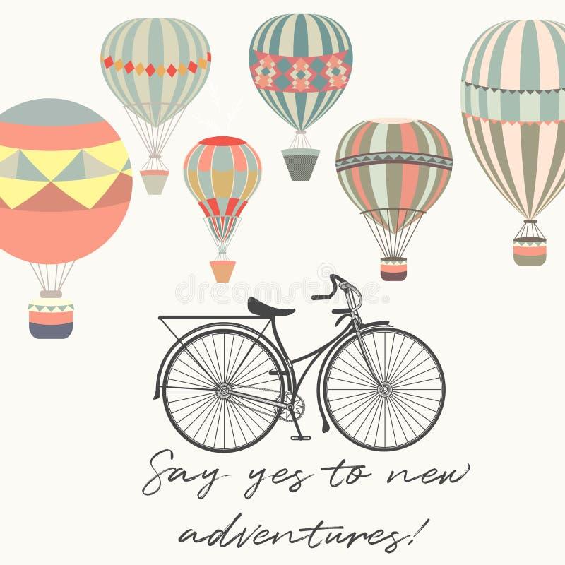 aventuras Ejemplo con los balones de la bicicleta y de aire en vintag libre illustration