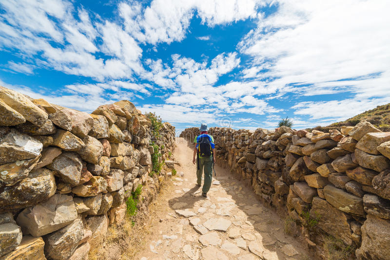 Aventuras en la isla del Sun, lago Titicaca, Bolivia foto de archivo libre de regalías