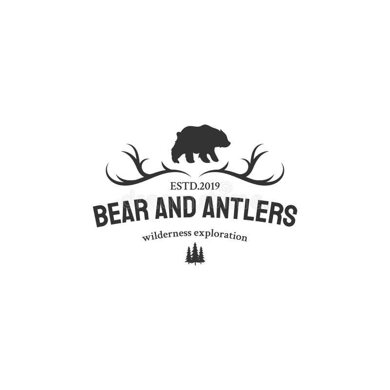 Aventure avec des conceptions de logo d'ours illustration libre de droits