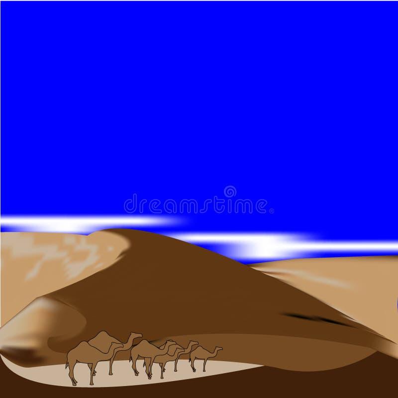 Aventure bleue de l'Afrique de fond de désert sec dunaire de l'Egypte illustration libre de droits