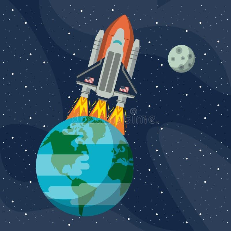 Aventure d'exploration d'espace illustration de vecteur