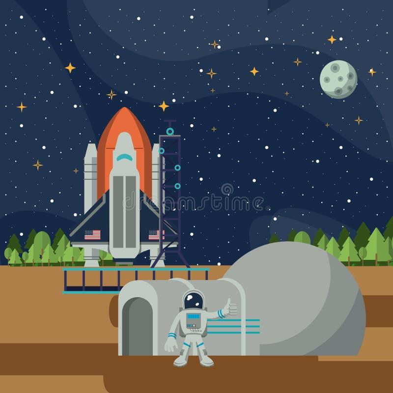 Aventure d'exploration d'espace illustration stock