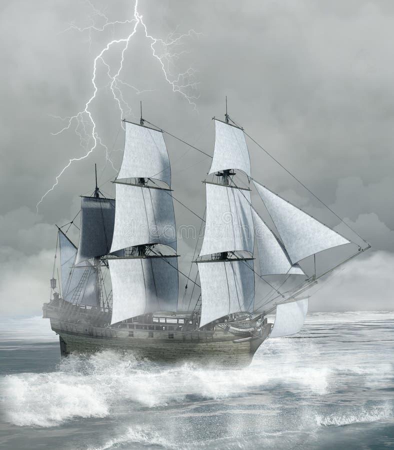 Aventure d'imagination sous la tempête illustration stock