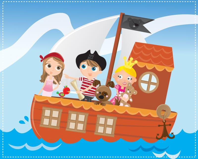 Aventure de bateau de pirate illustration libre de droits