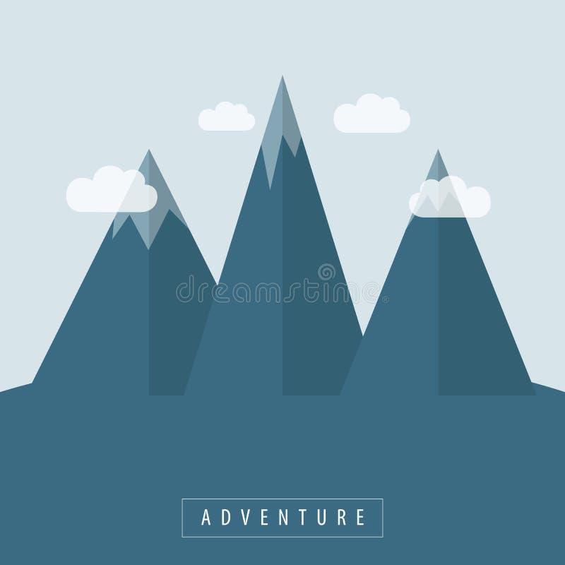 Aventure extérieure de montagnes neigeuses bleues illustration de vecteur