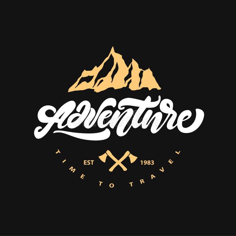Aventure marquant avec des lettres le logo avec la hache et la montagne Style de logo de hippie Illustration de vecteur illustration stock