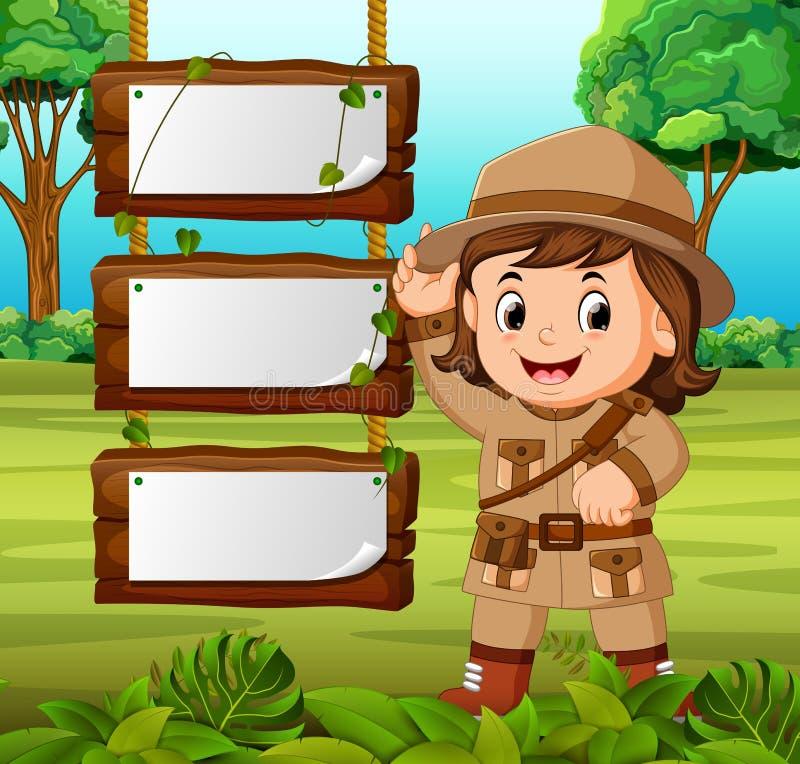 Aventurero de la chica joven con el fondo de madera en blanco stock de ilustración