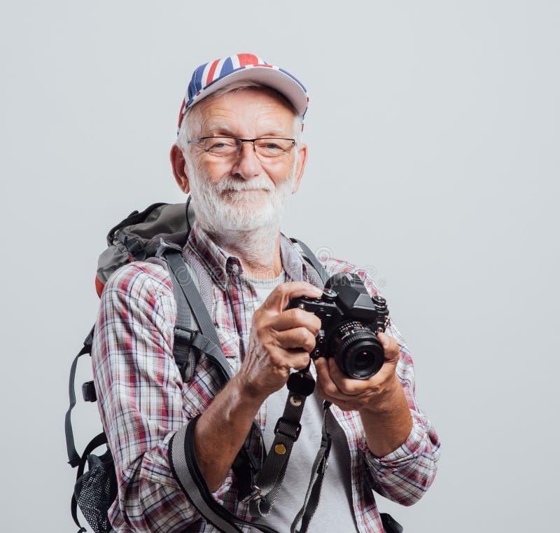 Aventurier et photographe supérieurs photo stock