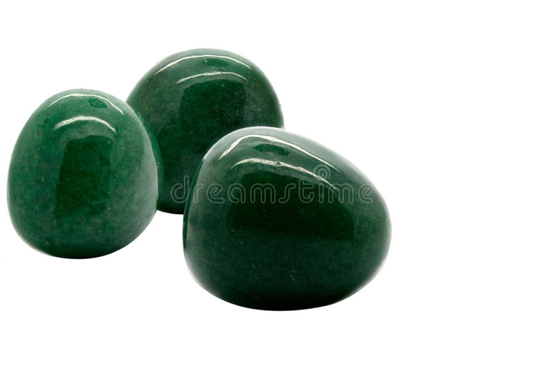 Aventurine. Set of a beautiful Aventurine tumbled gemstone specimen isolated on white background stock images
