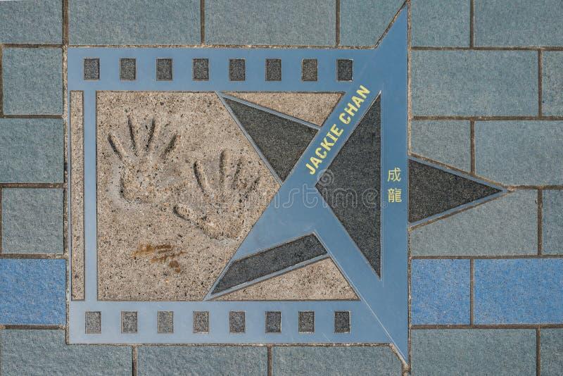 Avenue d'étoile de Jackie Chan des étoiles Hong Kong image libre de droits