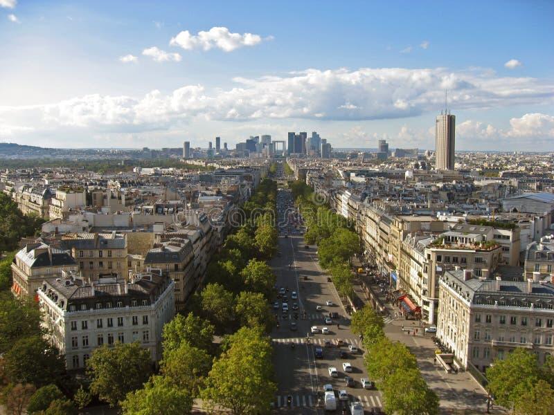 Avenue de la Grande Armee and La Defense Paris stock photos