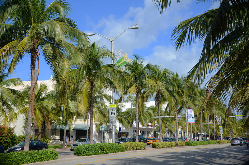 Avenue de Washington, Miami Beach, Etats-Unis photos libres de droits