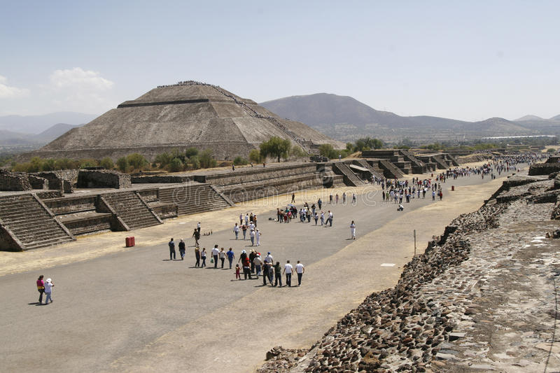 Avenue of the Dead in Teotihuacan stock photo