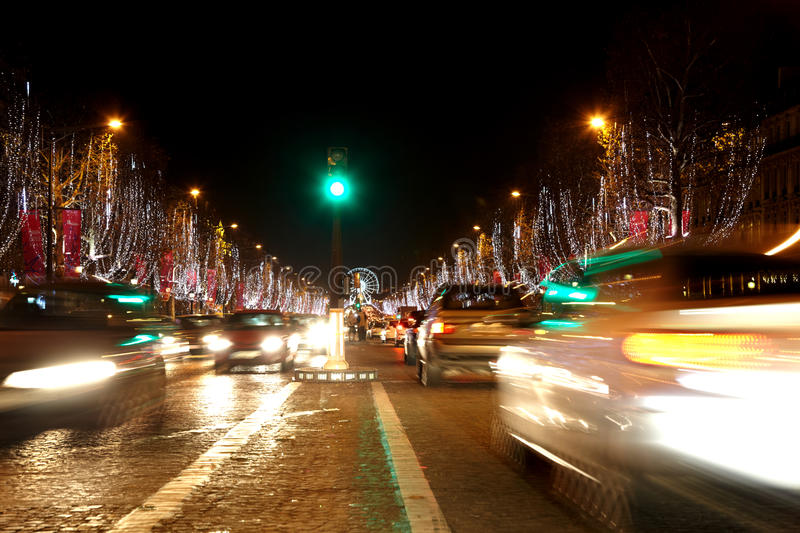 Avenue Des Champs Elysees At Night. Royalty Free Stock Photography