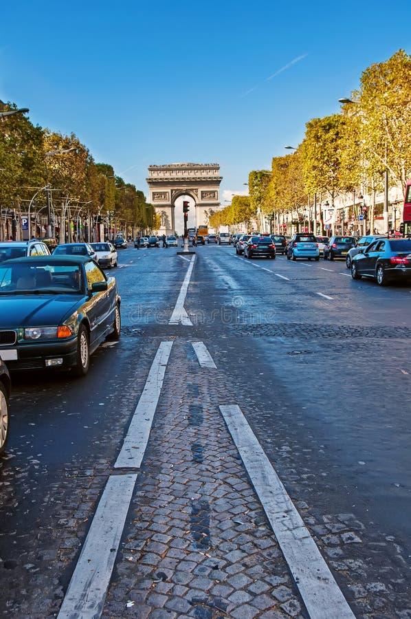 Arc de Triomphe de l'Étoile. Avenue des Champs-Elysses and Arc de Triomphe (Paris, France stock photos