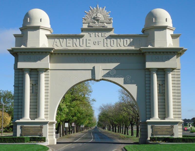 The famous war memorial, Arch of Victory in Ballarat, Australia stock photos