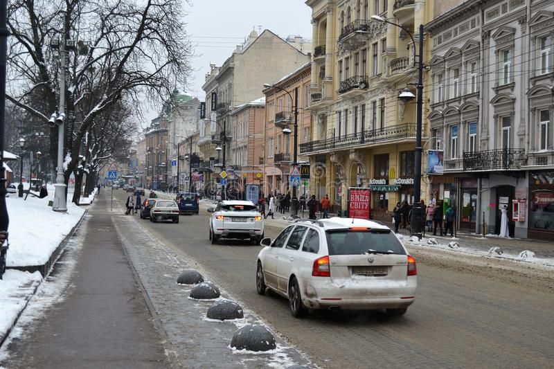 Avenue Lviv Ukraine de Svobody images libres de droits