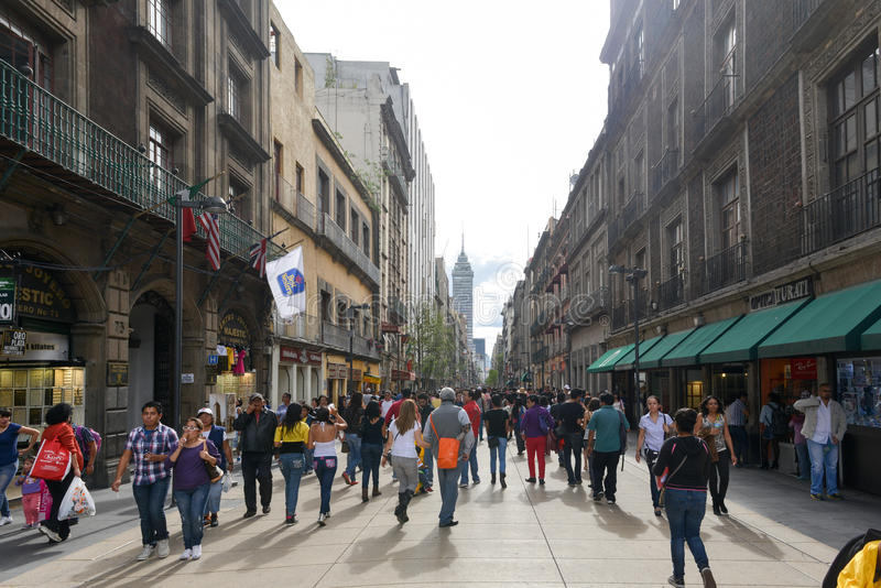 Avenue Madero in Mexico City. Mexico City, Mexico - July 6, 2013: Busy Avenue Madero with pedestrians in Mexico City royalty free stock photo