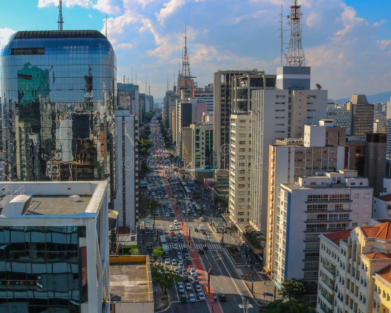Avenue Sao Paulo du Brésil Paulista images libres de droits