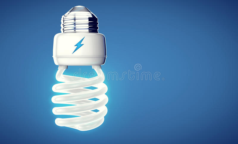 Aver bulb on modern blue background. royalty free illustration