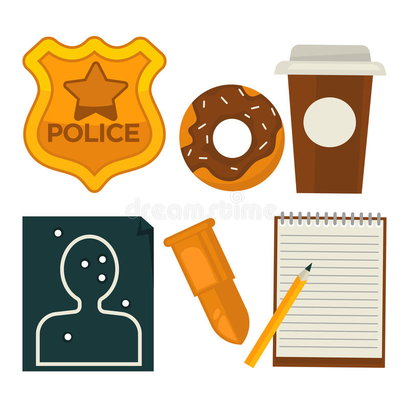 Daily average policeman belongings isolated cartoon illustrations set. Daily average policeman belongings isolated vector illustrations set. Golden police royalty free illustration