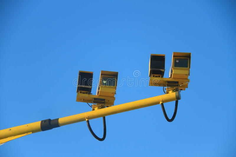 Average speed camera. Image of an average speed cameras on a motorway stock photos