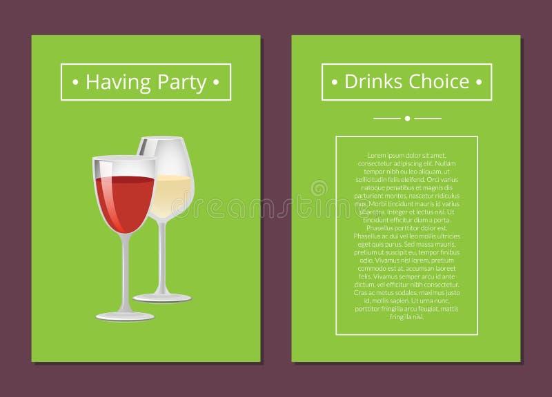 Avere manifesto Choice dell'annuncio delle bevande del partito con vino illustrazione di stock