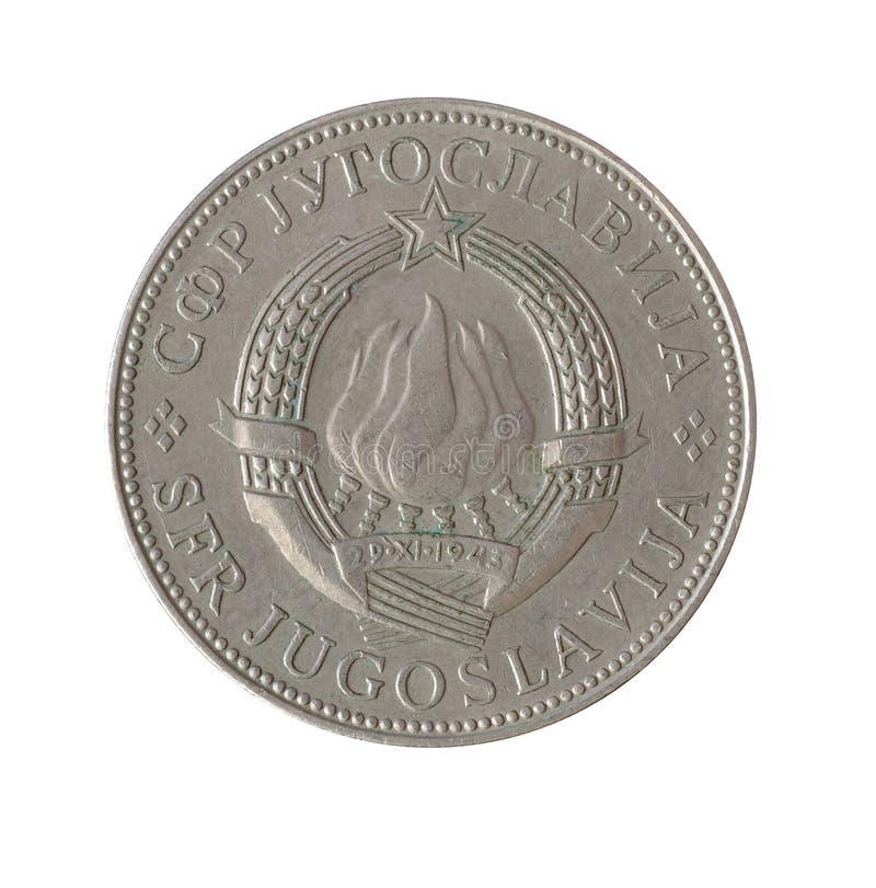 Avers av det 10 dinar myntet som göras av Jugoslavien royaltyfria foton
