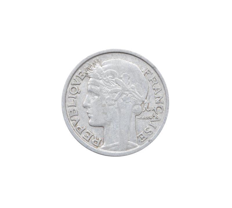 Avers av det 2 franc myntet som göras av Frankrike som visar kvinnligt royaltyfri fotografi