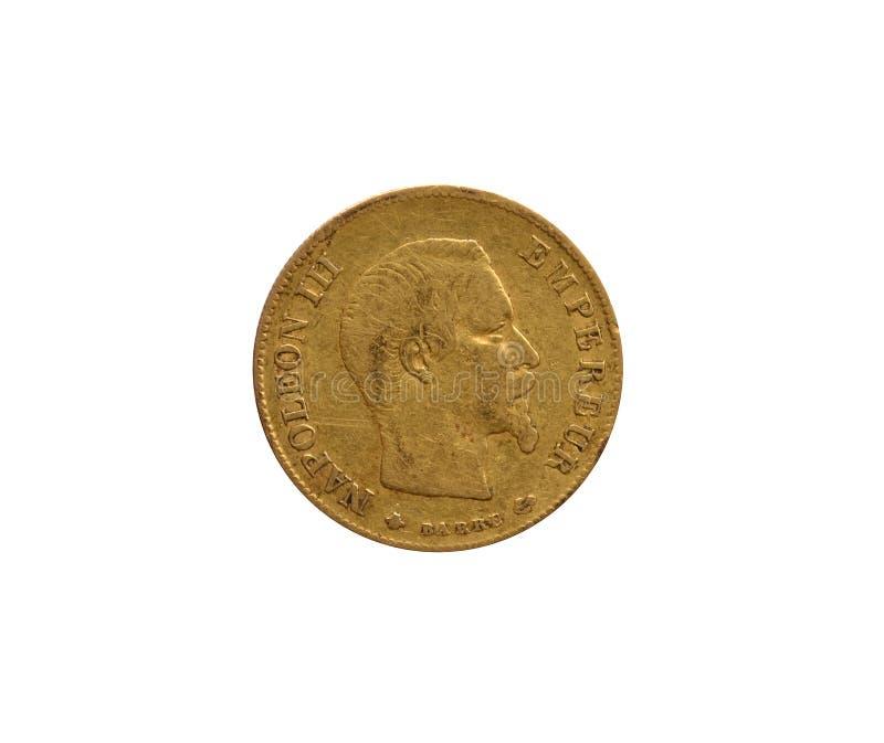 Avers av 10 guld- franska franc arkivfoto