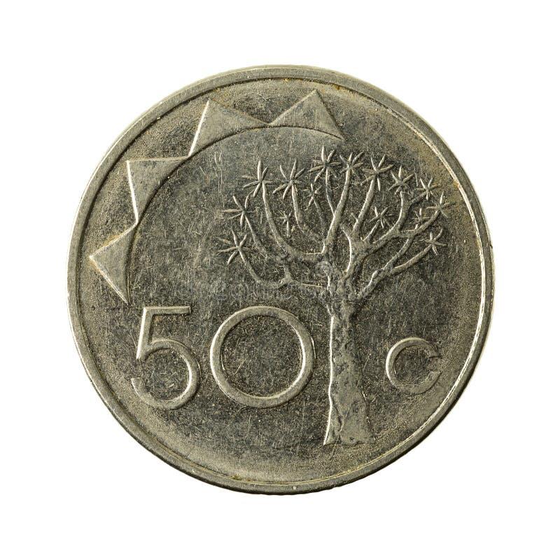 avers 2008 för 50 namibian centmynt royaltyfri foto