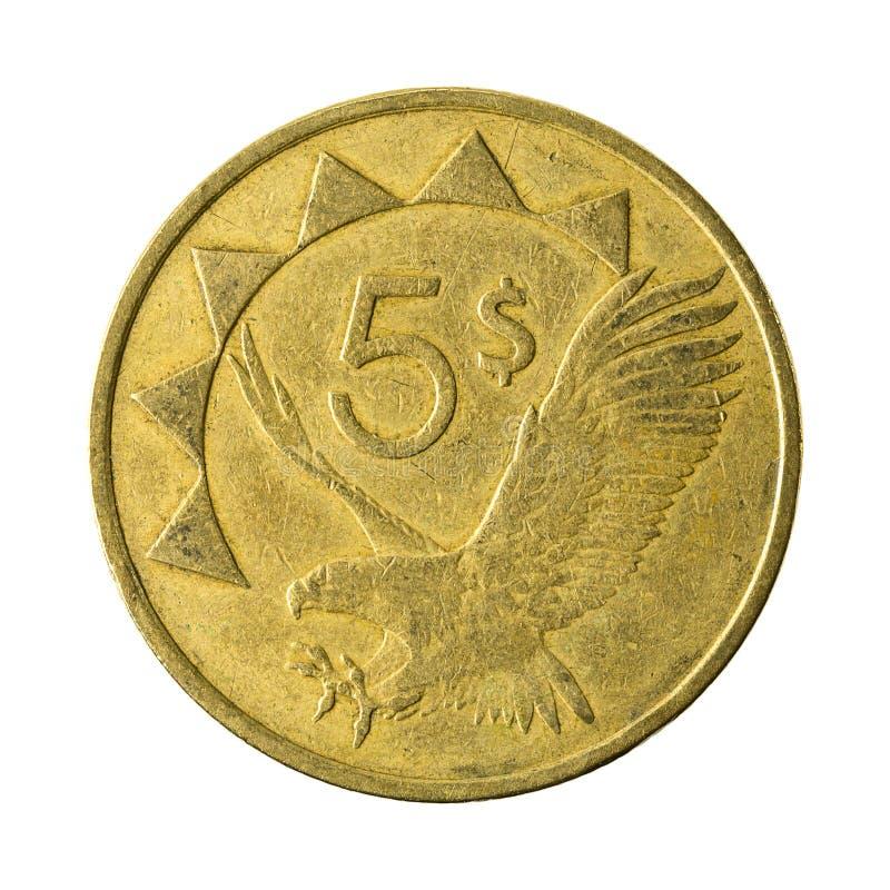 avers 1993 för 5 namibian dollarmynt royaltyfri foto
