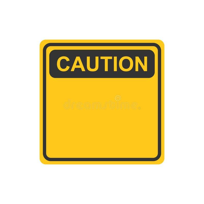 Avertissant, icône de signe de précaution dans le style plat Vecteur IL d'alarme de danger illustration stock