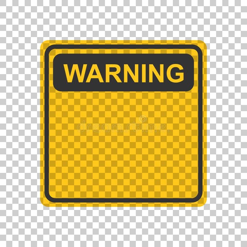 Avertissant, icône de signe de précaution dans le style plat Vecteur IL d'alarme de danger illustration de vecteur