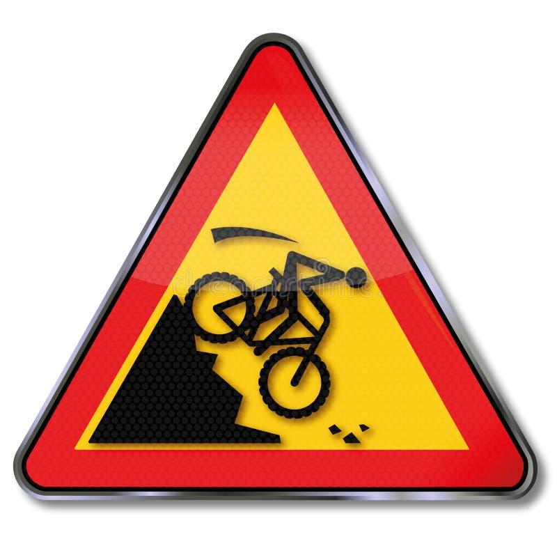 Avertissement d'une pente dans l'accident de vélo de montagne illustration libre de droits